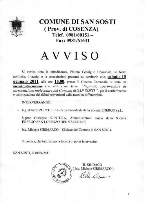 AVVISO COMUNE SAN SOSTI GOLADELROSA