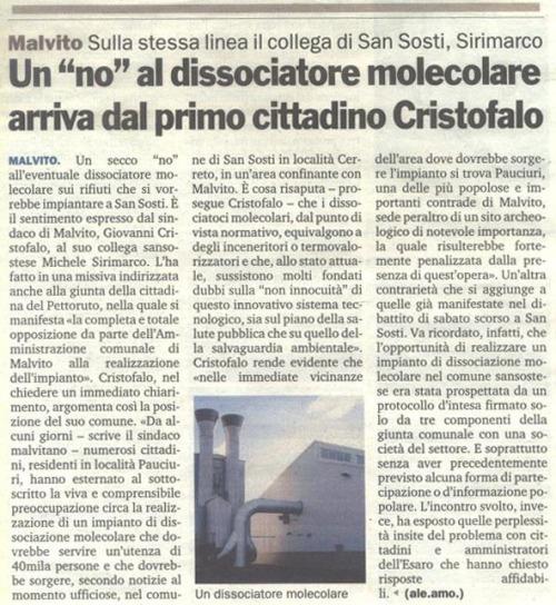 Giovanni Cristofalo Sindaco Malvito