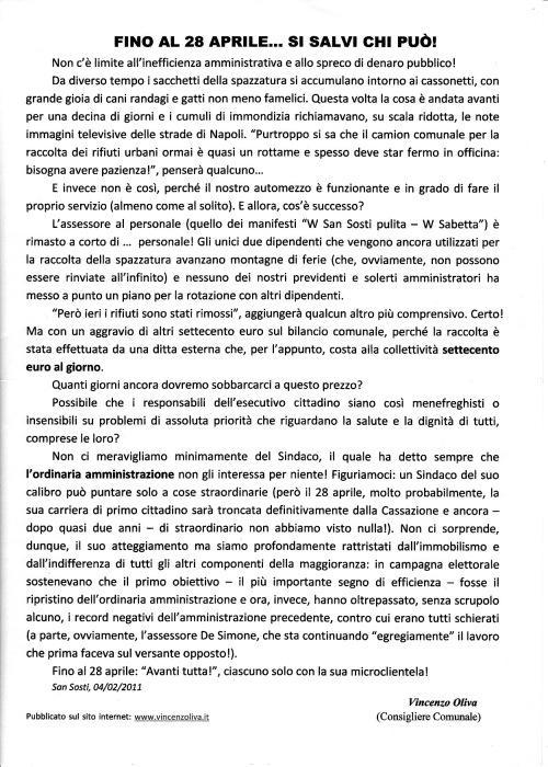 Comunicato Vincenzo Oliva