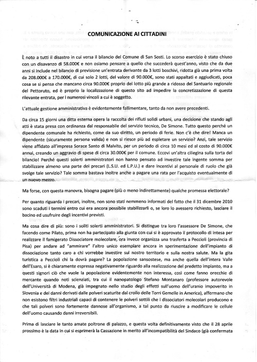 Manifesto minoranza consiliare san sosti 200211