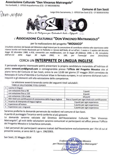 selezione n°1 Interprete di lingua inglese